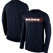 Wholesale Cheap Chicago Bears Nike Sideline Seismic Legend Long Sleeve T-Shirt Navy
