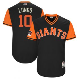 "Wholesale Cheap Giants #10 Evan Longoria Black ""Longo\"" Players Weekend Authentic Stitched MLB Jersey"