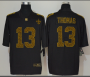Wholesale Cheap Men's New Orleans Saints #13 Michael Thomas Black 2020 Nike Flocked Leopard Print Vapor Limited NFL Jersey