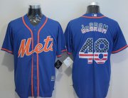 Wholesale Cheap Mets #48 Jacob DeGrom Blue USA Flag Fashion Stitched MLB Jersey