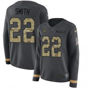 Wholesale Cheap Nike Vikings #22 Harrison Smith Anthracite Salute to Service Women's Stitched NFL Limited Therma Long Sleeve Jersey