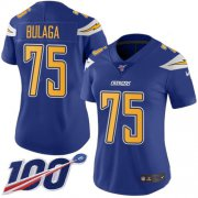 Wholesale Cheap Nike Chargers #75 Bryan Bulaga Electric Blue Women's Stitched NFL Limited Rush 100th Season Jersey