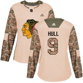 Wholesale Cheap Adidas Blackhawks #9 Bobby Hull Camo Authentic 2017 Veterans Day Women\'s Stitched NHL Jersey