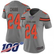 Wholesale Cheap Nike Browns #24 Nick Chubb Gray Women's Stitched NFL Limited Inverted Legend 100th Season Jersey