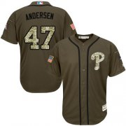 Wholesale Cheap Phillies #47 Larry Andersen Green Salute to Service Stitched MLB Jersey