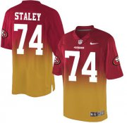 Wholesale Cheap Nike 49ers #74 Joe Staley Red/Gold Men's Stitched NFL Elite Fadeaway Fashion Jersey