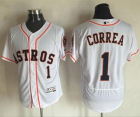 Wholesale Astros #1 Carlos Correa White Flexbase Authentic Collection Stitched Baseball Jersey