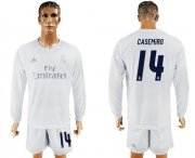 Wholesale Cheap Real Madrid #14 Casemiro Marine Environmental Protection Home Long Sleeves Soccer Club Jersey