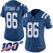 Wholesale Cheap Nike Colts #86 Michael Pittman Jr. Royal Blue Women's Stitched NFL Limited Rush 100th Season Jersey