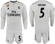 Wholesale Cheap Real Madrid #5 Varane White Home Long Sleeves Soccer Club Jersey