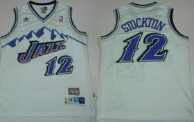 Wholesale Cheap Utah Jazz #12 John Stockton Mountain White Hardwood Classics Soul Swingman Throwback Jersey