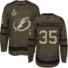 Cheap Adidas Lightning #35 Curtis McElhinney Green Salute to Service Youth 2020 Stanley Cup Champions Stitched NHL Jersey