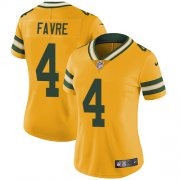Wholesale Cheap Nike Packers #4 Brett Favre Yellow Women's Stitched NFL Limited Rush Jersey
