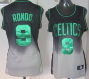 Wholesale Cheap Boston Celtics #9 Rajon Rondo Black/Gray Fadeaway Fashion Womens Jersey