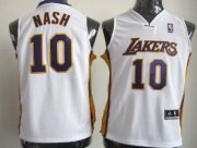Cheap Los Angeles Lakers #10 Steve Nash White Kids Jersey