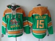Wholesale Cheap Ducks #15 Ryan Getzlaf Green Sawyer Hooded Sweatshirt Stitched NHL Jersey