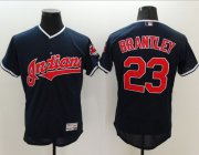Wholesale Cheap Indians #23 Michael Brantley Navy Blue Flexbase Authentic Collection Stitched MLB Jersey