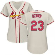 Wholesale Cheap Cardinals #23 Marcell Ozuna Cream Alternate Women's Stitched MLB Jersey