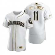 Wholesale Cheap Seattle Mariners #11 Edgar Martinez White Nike Men's Authentic Golden Edition MLB Jersey