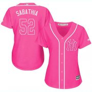 Wholesale Cheap Yankees #52 C.C. Sabathia Pink Fashion Women's Stitched MLB Jersey