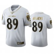 Wholesale Cheap Baltimore Ravens #89 Mark Andrews Men's Nike White Golden Edition Vapor Limited NFL 100 Jersey