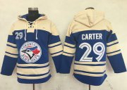 Wholesale Cheap Blue Jays #29 Joe Carter Blue Sawyer Hooded Sweatshirt MLB Hoodie