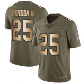 Wholesale Cheap Nike Chargers #25 Melvin Gordon III Olive/Gold Men\'s Stitched NFL Limited 2017 Salute To Service Jersey