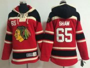 Wholesale Blackhawks #65 Andrew Shaw Red Sawyer Hooded Sweatshirt Stitched Youth NHL Jersey