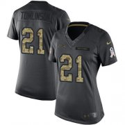 Wholesale Cheap Nike Chargers #21 LaDainian Tomlinson Black Women's Stitched NFL Limited 2016 Salute to Service Jersey