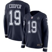 Wholesale Cheap Nike Cowboys #19 Amari Cooper Navy Blue Team Color Women's Stitched NFL Limited Therma Long Sleeve Jersey