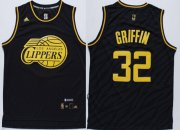 Wholesale Cheap Los Angeles Clippers #32 Blake Griffin Revolution 30 Swingman 2014 Black With Gold Jersey