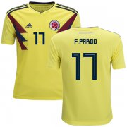 Wholesale Cheap Colombia #17 F.Pardo Home Kid Soccer Country Jersey
