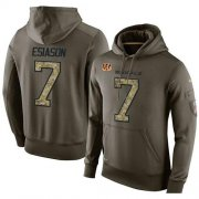 Wholesale Cheap NFL Men's Nike Cincinnati Bengals #7 Boomer Esiason Stitched Green Olive Salute To Service KO Performance Hoodie