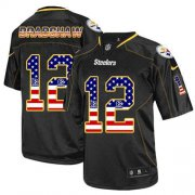 Wholesale Nike Steelers #12 Terry Bradshaw Black Men's Stitched NFL Elite USA Flag Fashion Jersey