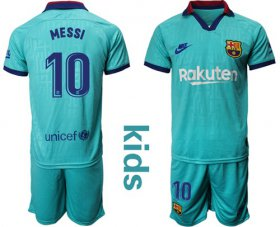 Wholesale Cheap Barcelona #10 Messi Third Kid Soccer Club Jersey