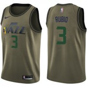 Wholesale Cheap Nike Jazz #3 Ricky Rubio Green Salute to Service NBA Swingman Jersey
