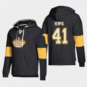Wholesale Cheap Los Angeles Kings #41 Sheldon Rempal Black adidas Lace-Up Pullover Hoodie