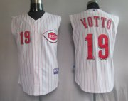 Wholesale Cheap Reds #19 Joey Votto White Vest Style Stitched MLB Jersey