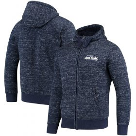 Wholesale Cheap Men\'s Seattle Seahawks G-III Sports by Carl Banks Heathered College Navy Discovery Sherpa Full-Zip Jacket
