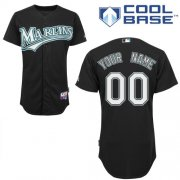 Wholesale Cheap Marlins Personalized Authentic Black MLB Jersey (S-3XL)