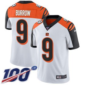 Wholesale Cheap Nike Bengals #9 Joe Burrow White Men\'s Stitched NFL 100th Season Vapor Untouchable Limited Jersey