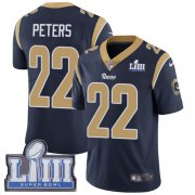 Wholesale Cheap Nike Rams #22 Marcus Peters Navy Blue Team Color Super Bowl LIII Bound Youth Stitched NFL Vapor Untouchable Limited Jersey