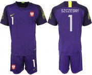 Wholesale Cheap Poland #1 Szczesny Purple Goalkeeper Soccer Country Jersey