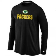 Wholesale Cheap Nike Green Bay Packers Authentic Logo Long Sleeve NFL T-Shirt Black