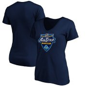 Wholesale Cheap Women's 2020 NHL All-Star Game V-Neck T-Shirt Navy