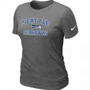 Wholesale Cheap Women's Nike Seattle Seahawks Heart & Soul NFL T-Shirt Dark Grey