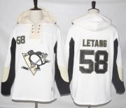 Wholesale Cheap Penguins #58 Kris Letang White Pullover Hoodie Stitched NHL Jersey