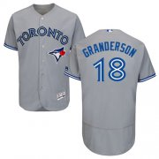 Wholesale Cheap Blue Jays #18 Curtis Granderson Grey Flexbase Authentic Collection Stitched MLB Jersey