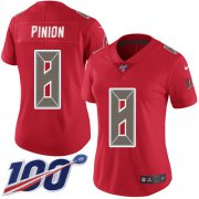 Wholesale Cheap Nike Buccaneers #8 Bradley Pinion Red Women's Stitched NFL Limited Rush 100th Season Jersey