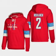Wholesale Cheap Washington Capitals #2 Matt Niskanen Red adidas Lace-Up Pullover Hoodie